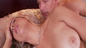 Blowjob accompanied by large tits babe Sarah Vandella