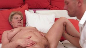Hairy pussy granny fetish receiving facial
