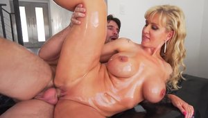 Horny & busty blonde Ryan Conner oil nailed hard
