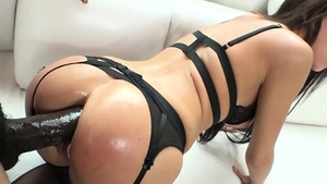 Hard ramming escorted by brunette