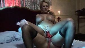 Large tits Eva Angelina voyeur fun with toys in the bed