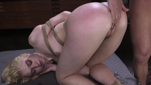 Blonde rushes tied up