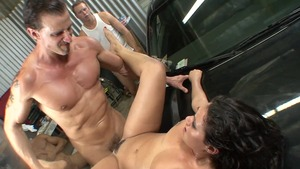 Receiving facial cum loads besides sexy brunette Charley Chase