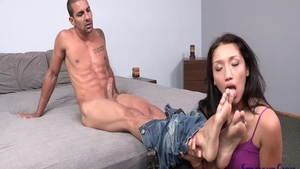 Doggy fucks with big ass american brunette