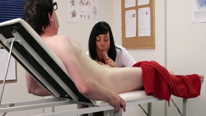 Busty doctor CFNM stroking pussy fuck in HD