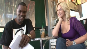 Big boobs and hawt Sarah Vandella blowjobs in cafe