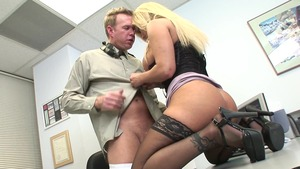Lustful stepmom cumshot in office