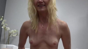 Cock sucking at castings between small tits blonde