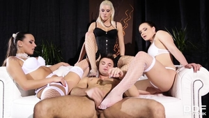 Threesome along with charming brunette in her lingerie