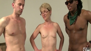 Short haired granny threesome at the castings
