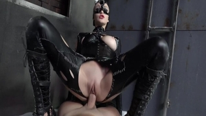Pussy eating young european Belle Claire in latex