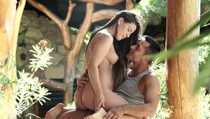 Curvy & young goddess Athina Love cumshot outdoors