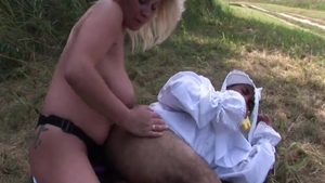 Poor babe hardcore pussy fuck outdoors
