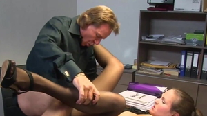 Young girl wearing shorts cumshot in office