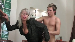 Plowing hard in company with small tits european MILF