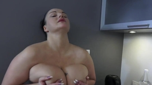 Large boobs brunette masturbating in HD