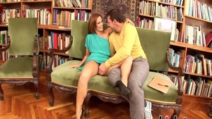 Horny Sylvia Laurent hardcore pussy fucking in the library