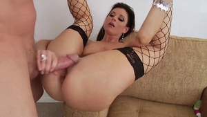 Butt fuck next to mature in fishnet HD