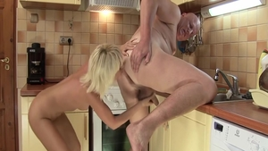 Wild & super sexy blonde blowjobs in the kitchen