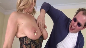 Nailing in company with pierced blonde