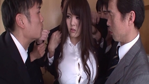 Blowjob in office amongst busty babe Hitomi Tanaka