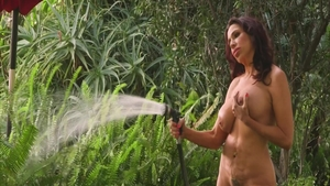 Masturbating outdoors along with shaved MILF Lisa Marie