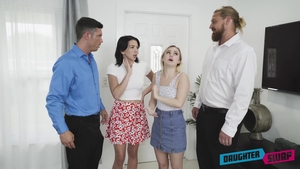 Blonde haired Aria Banks wearing jeans fantasy group sex