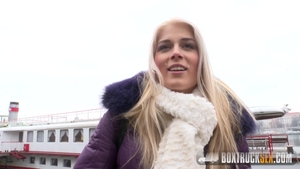 Hard nailining among blonde Sweet Cat in public in HD