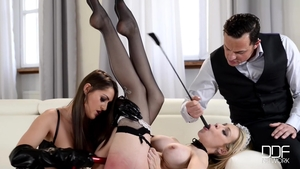 Hard pounding escorted by large tits maid