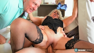 Rough nailing in the company of huge boobs blonde haired