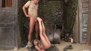 Obscene and erotic babe in uniform feet fetish