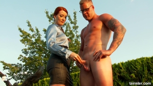 Sucks dick and fucks starring in tight stockings outdoors HD