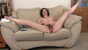 Solo hairy female goes wild on cock after interview