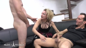Cumshot nude french in stockings HD