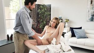 Teen chick Aiden Ashley reverse cowgirl on the table