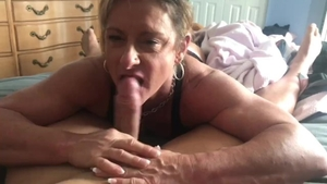 Muscle girl POV swallow