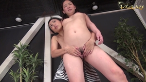 Hard pounding together with hairy japanese brunette