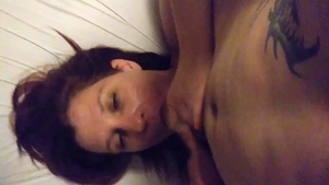 POV giving head for huge dick