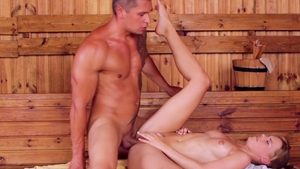 Couple Baby Dream bends over in the sauna in HD