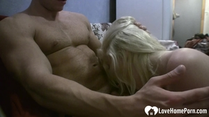 Tight blonde hair goes for hard ramming