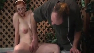 Huge boobs redhead gets a buzz out of real fucking in glasses