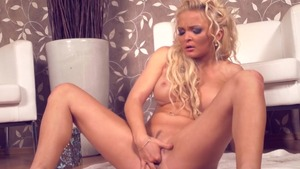 Squirts in company with busty blonde haired