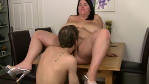 Shaved and huge brunette rough doggy fucking