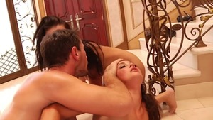 Hairy blonde rough threesome deepthroat HD